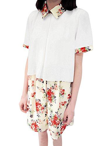 Damen Spitz Kragen Kurzärmlig Blumenmuster Chiffonkleid Gebrochen weiß