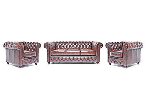 Original Chesterfield Sofa und Sessel – 1 / 1 / 3 Sitzer – Vollständig Handgewaschenes Leder – Antik Braun