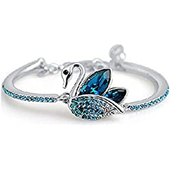 Shining Diva Fashion Blue Platinum Plated Austrian Crystal Kadaa bracelet for Girls