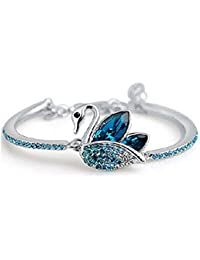 Shining Diva Fashion Blue Platinum Plated Austrian Crystal Kadaa Bangle Bracelet for Women & Girls (Blue) (r7897b)