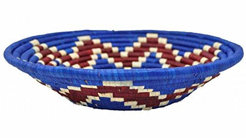 Cestino africano - Diametro 25-26 cm - Azzuro oscuro / Rosso - Fatto a mano - Uganda