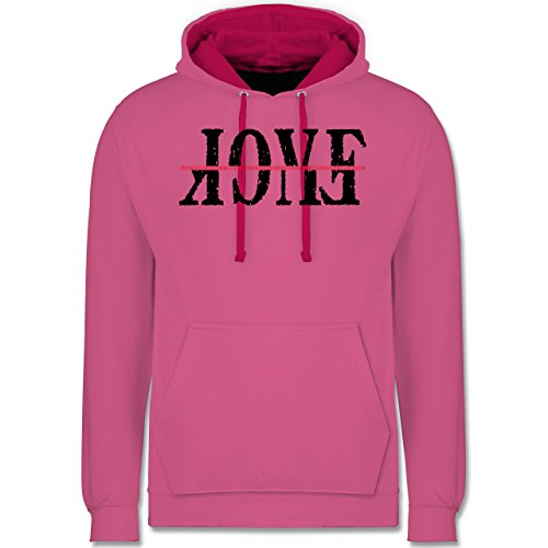 Statement Shirts - Love vs. Fuck - L - Rosa/Fuchsia - JH003 - Kontrast Hoodie
