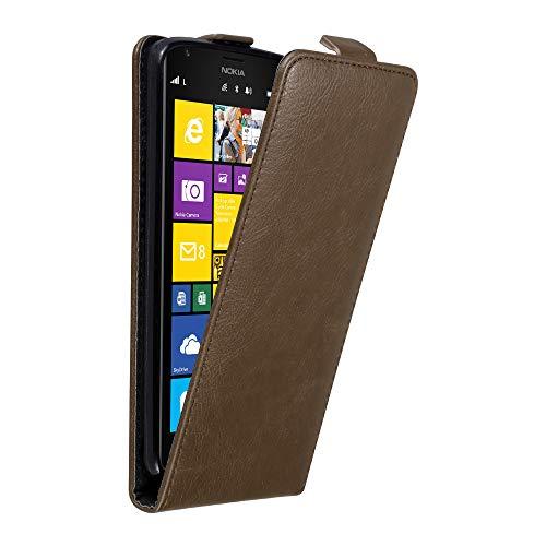 Cadorabo Hülle für Nokia Lumia 1520 - Hülle in Kaffee BRAUN - Handyhülle im Flip Design aus Struktur Kunstleder - Case Cover Schutzhülle Etui Tasche