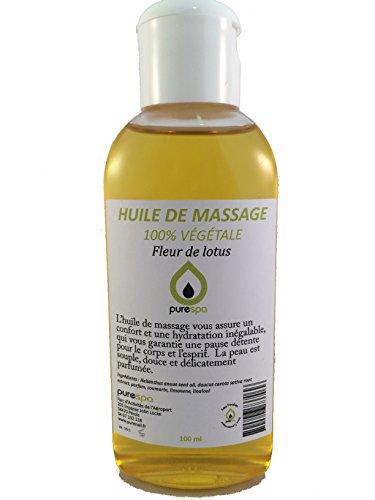 Huile de massage 100% végétale parfumée à la FLEUR DE LOTUS - 100ml- Offre découverte