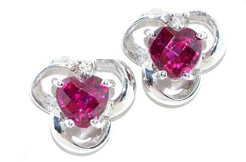 1CT Schachbrett Rubin & Diamant Ohrstecker Herz 925Sterling Silber Rhodium Finish (1 120v)