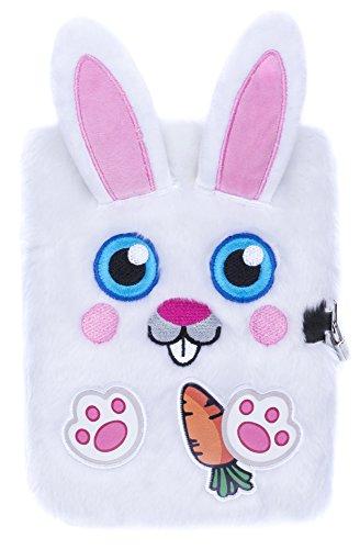 FRINGOO, agenda di peluche 3D per ragazzi e ragazze, formato A5, con lucchetto e segnalibro, design a forma di tenero unicorno, 80 pagine (lingua italiana non garantita) A5 Bunny