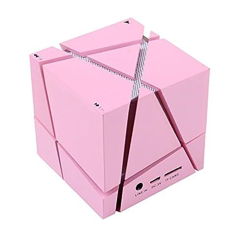 COOSA Cube Design Colorful LED Mini Portable Enceinte Bluetooth Musique Bluetooth 4.0 sans fil avec haut-parleur stéréo Microphone main-libre Compatible avec l'iPhone. iPad.Samsung.Tablets PC - Portable et l'autre telephone Android (Rose)