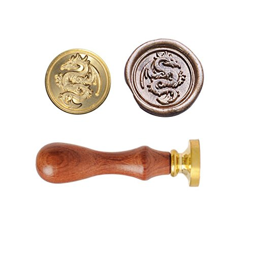 (Flying Dragon Wax Seal Stempel-Retro Messing Kopf Holzgriff-ideal für die Verschönerung von Umschlägen, Einladungen, Wein-Pakete, etc, außergewöhnliche Geschenk)