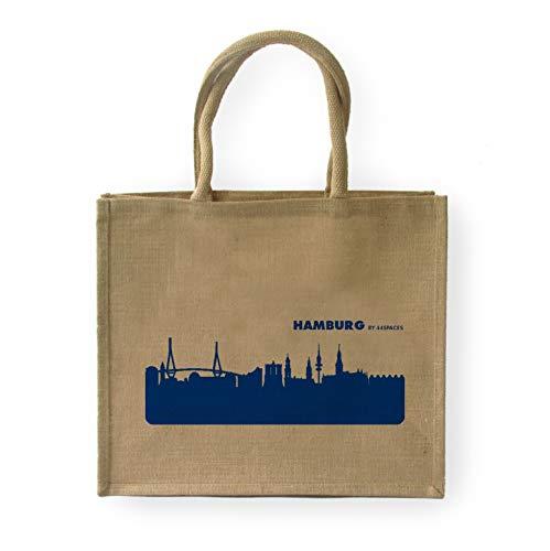44spaces Jute Classic Shopper Hamburg, Print in blau - Größe: 42 x 33 x 19 cm, große stabile Einkaufstasche Strandtasche Tragetasche -