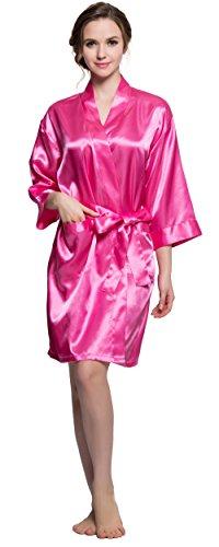 Shining Life Kimono Satin Brautkleid Hochzeit mit Strass für Damen - Rot - Medium (Brautjungfer)