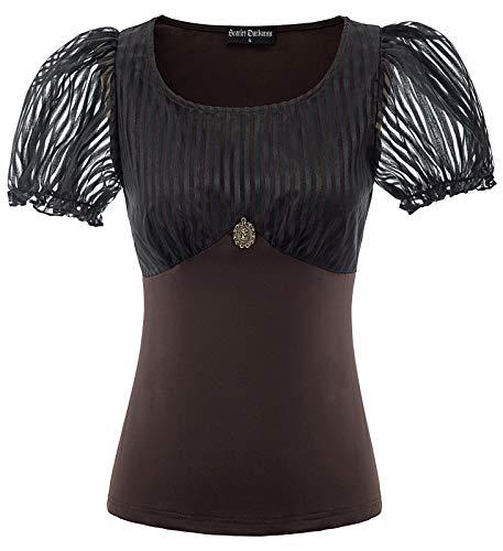 SCARLET DARKNESS Bluse Damen Vintage Viktorianische Renaissance Steampunk U-Neck Tops Schwarz S - Gothic Schwarz Shirt Top