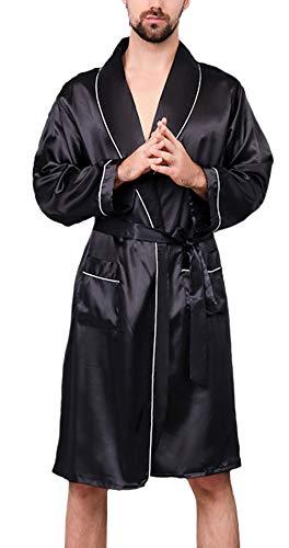 Bademantel Herren Kurz Frühling Sommer Seide Normallacks Wesentlich Kimono Langarm V-Ausschnitt Locker Bequem Atmungsaktiv Morgenmantel Saunamantel (Color : Black-1, Size : XL)
