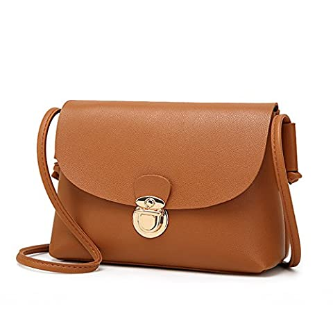 Warring States® Cute Small Messenger Shoulder Bags Women's Crossbody Bag Clutches PU Women Leather Bag Bolsa (Brown Leather Messenger Bag)