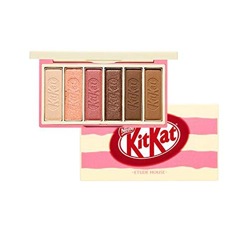 Ettude House x KitKat Play Color Eyes Mini Eyeshadow[Tiramisu] Palette 6 Eyeshadow Colors in a Sweet Package Like KitKat Doing Various Eye Makeup Matte, Shemmer, Glitter Type Eyeshadow #Dab1087 - Mini-make-up-palette