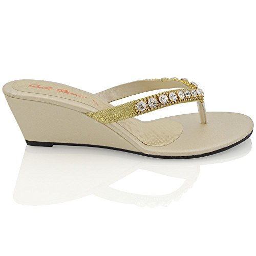ESSEX GLAM Damen Gold Keilabsatz Zehentrenne Thong Sandalen mit gehäuften Schmucksteinen EU 37 nS72SI