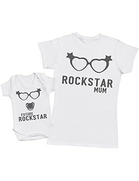 Rockstar Mum - regalo para madres y bebés en un body para bebés y una camiseta de mujer a juego