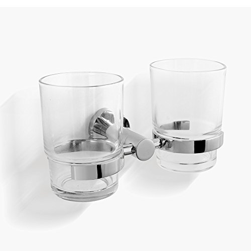 CRW Toothbrush Holder Double Tumbler Cup For Bathroom Glass Wall Mount  Chrome Stainless Steelu0026 Clear 2 Cups 90008
