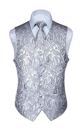 Hisdern Manner Paisley Floral Jacquard Weste & Krawatte und Einstecktuch Weste Anzug Set, Grau, Gr.-S (Brust 41 Zoll)