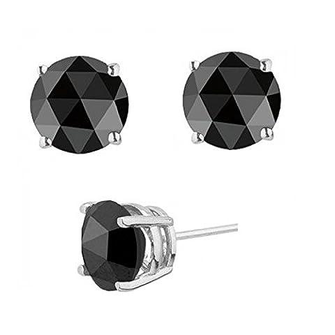 BuyFineDiamonds - 925 Sterling-Silber Silber Brilliant Rund schwarz