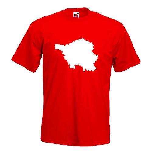 KIWISTAR - Saarland Deutschland Silhouette T-Shirt in 15 verschiedenen Farben - Herren Funshirt bedruckt Design Sprüche Spruch Motive Oberteil Baumwolle Print Größe S M L XL XXL Rot