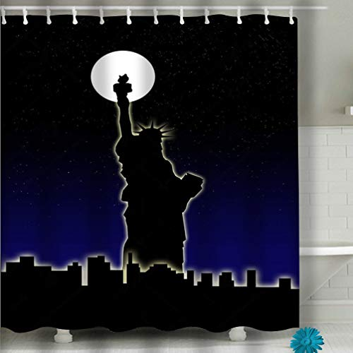 Zongxiahuoguo Shower Curtain Statue Liberty Against Background Flags United States Confederate Rebel Hand Drawn Sketch Vector eps 60 x 72 Inches - Confederate Polyester