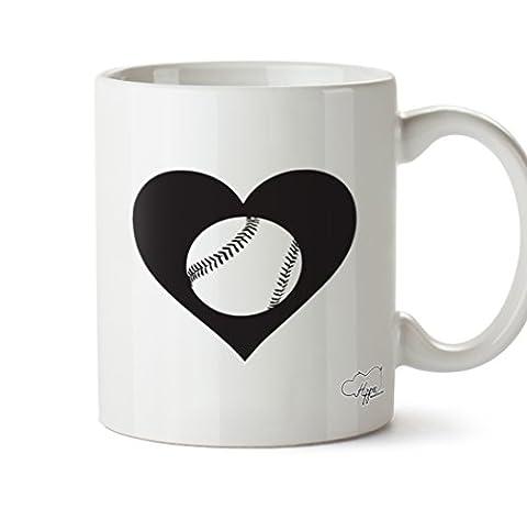 hippowarehouse Herz Baseball 283,5Tasse, keramik, weiß, One Size (10oz)