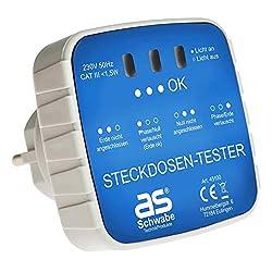 as - Schwabe Anschluss-Prüfstecker - Diagnose-Stecker mit Kontrollleuchten-Anzeige - Kontrolle von korrekten Verdrahtungen in Schutzkontaktsteckdosen 230 V - Stromkreis-Prüfgerät - Weiß I 45100