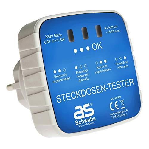 as - Schwabe Anschluss-Prüfstecker - Diagnose-Stecker mit Kontrollleuchten-Anzeige - Kontrolle von korrekten Verdrahtungen in Schutzkontaktsteckdosen 230 V - Stromkreis-Prüfgerät - Weiß I 45100 Elektro-tester