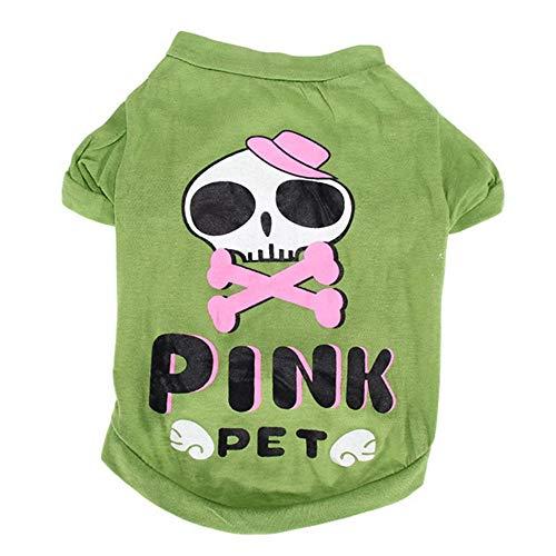 Simis Halloween-Skelett-Design Haustier-Kostüm, Grün-Rundhalsausschnitt-Schädel-Form-Kleid Urlaub verkleiden Kleidung Accessoires Festliche Partei-T-Shirt Dog Supplies,M -