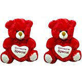 Handmart Teddy Bear With Heart Red Combo - 10 Inch (Red)