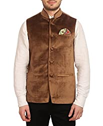 Wintage Mens Velvet Grandad Collar Party Camel Nehru Vest Waistcoat, X-Large