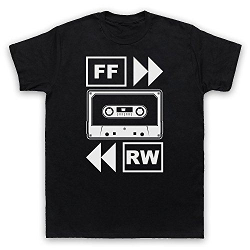 My Icon Art & Clothing Fast Forward Tape Cassette Camiseta para Hombre, Negro, 4XL