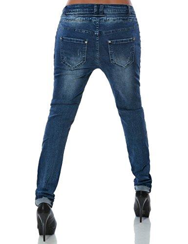 Daleus Damen Boyfriend Jeans Hose Reißverschluss Knopfleiste No 14145 Blau 38 / M -