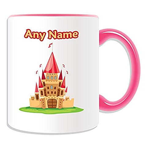 Cadeau personnalisé–Jaune Château Mug Motif conte de fées (Thème, Couleur)–N'importe