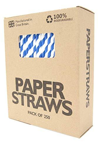 iologisch abbaubar, 250 Stück, Party-Trinkhalme, umweltfreundlich und praktisch, natürliches recycelbares Bastelpapier - perfekt für Partys, Events, Zuhause - blau/weiß ()