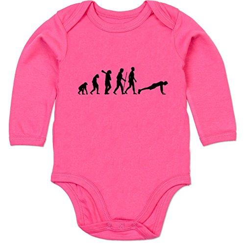 Shirtracer Evolution Baby - Liegestütze Evolution - 12-18 Monate - Fuchsia - BZ30 - Baby Body Langarm