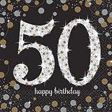 16 serviettes en papier anniversaire '50 ans' argent