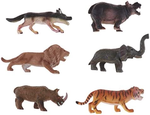 D DOLITY 6 Pièces Figurines Animaux Assortis Miniature de de de Différents Modèles Jouet d'Imitation Multicolore - Sauvage /Domestiques à Choisir 697753