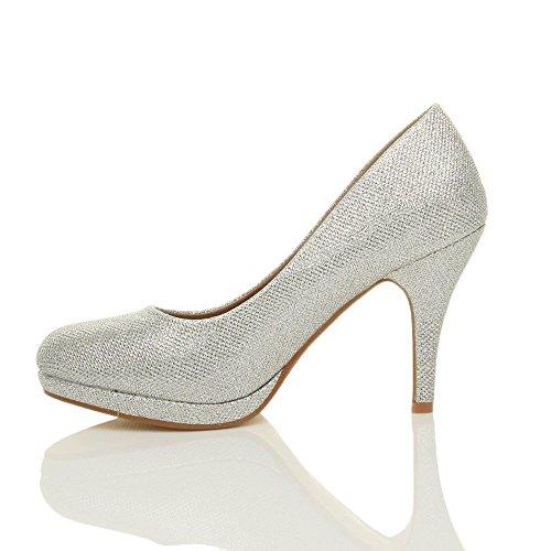 Donna tacco alto medio lavoro sera festa semplice décolleté scarpe taglia Tulle scintillio argento