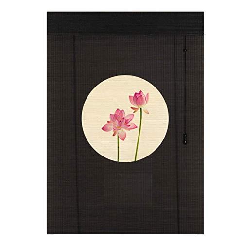 ACZZ Persianas enrollables de estilo japonés estampadas: puerta/mirador/balcón/dormitorio/exterior/ventanas de bambú, sombrilla, negro, 70Cm / 90Cm / 110Cm / 130Cm de ancho,90 × 70cm