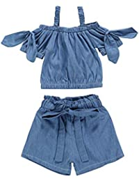 Summer Kids Baby Girls Solid Sling Shoulder T-Shirt Tops + Bow Shorts Outfits Clothing 12M-5T