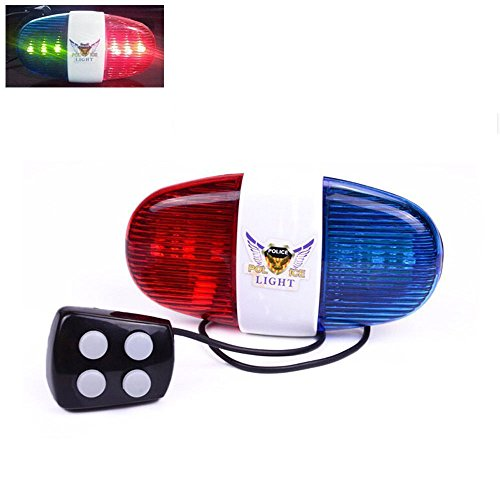 Yakamoz Cycling Bike Electric Horn [4 Sounds] Bicycle Police Siren Bell [6 LED Lights]