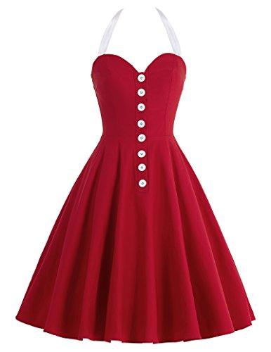 Femme Rétro Pin Up Vintage Robe Années 50 's Style Audrey Hepburn Rockabilly Swing Taille L BP118-3