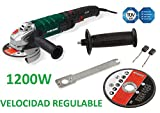 AMOLADORA ANGULAR RADIAL 1200w REGULABLE 125mm CORTE METAL, MADERA, GRES, PIEDRA
