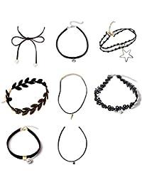 Beatayang Collier de Collants 8 pièces Collier en Velours Noir Velouté  Gothique Tatouage Collier Pendentif pour c911ec77694a