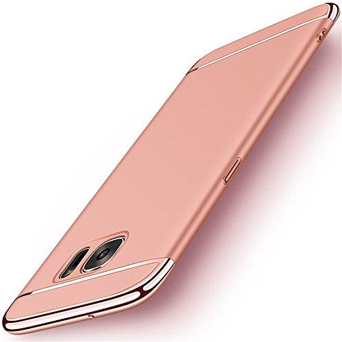 Samsung Galaxy S6 Edge Hülle, 3-Teilige Extra Dünn Hart Slim Thin Hard Case Cover Stylich Hochwertig Schutzhülle Schale Handy Hülle für Samsung Galaxy S6 Edge (Rose Gold) Hard Case Handy Cover