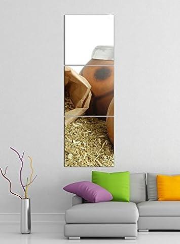 Leinwandbild 3tlg Tee Mate Blätter Diät Gesundheit Küche Bilder Druck auf Leinwand Vertikal Bild Kunstdruck mehrteilig Holz 9YA4608, Vertikal Größe:Gesamt 30x90cm