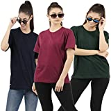 Patche Women's Loose Fit Round Neck Multicolor Color T-Shirt (Pack of 3)
