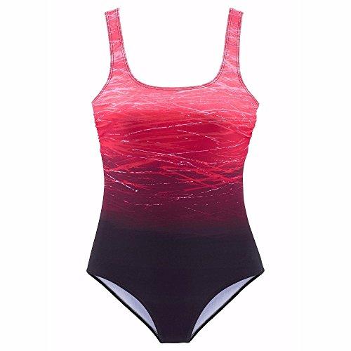 tengweng Damen Vintage Tribal Print Einteiler Badeanzug Gepolsterte Bademode Push Up Badeanzug Monokini - - Small - 3