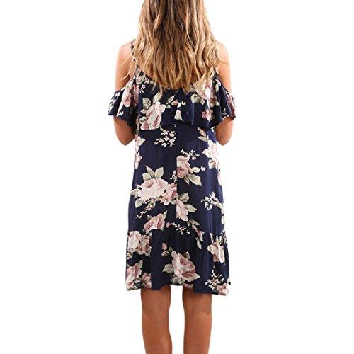 Sommerkleider Damen VENMO Frauen Sommer Blumen Rüschen Kleid aus Schulter  Mini Kleid Strand Party Kleid Blue